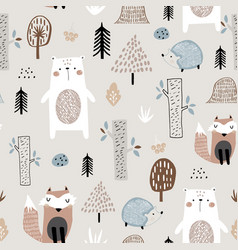 Seamless childish pattern with cute bear fox vector