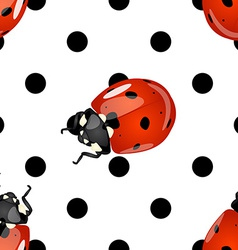 Seamless ladybugs and polka dots pattern vector image
