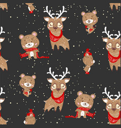 seamless pattern with cute deer and bear in scarf vector image