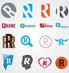 Set of alphabet symbols of letter R vector image