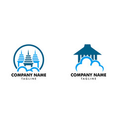 set of cloud house logo template vector image