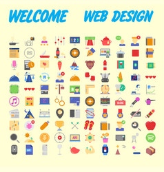 set of multicolored icons for your design vector image