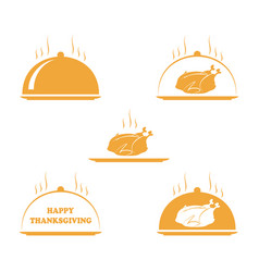 set of thanksgiving turkey and happy thanksgiving vector image