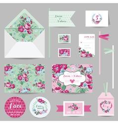 set wedding stationary - invitation card rsvp vector image