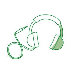 shadow green headphones cartoon vector image