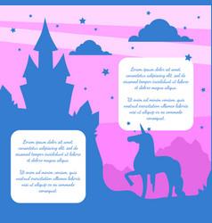 silhouette fairytale magic castle and unicorn vector image