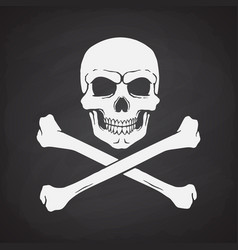 silhouette skull jolly roger with crossbones vector image