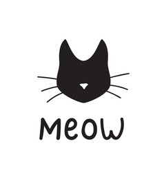 Simple black cat head silhouette saying meow vector