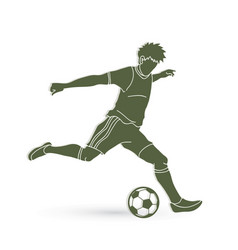 Soccer player running and kicking a ball vector