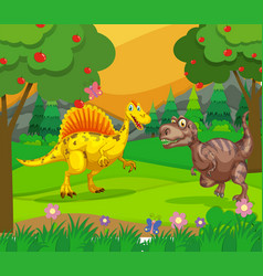 spinosaurus and t-rex in the field vector image