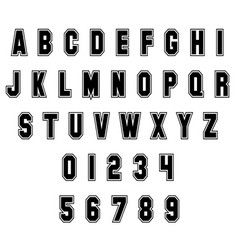 Sport alphabet letters and numbers on white vector