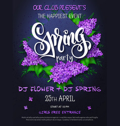 Spring party poster with lettering on vector