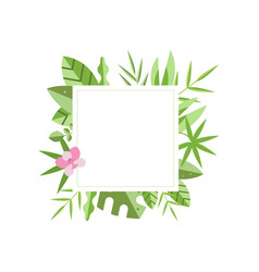 Square frame with green tropical leaves and pink vector