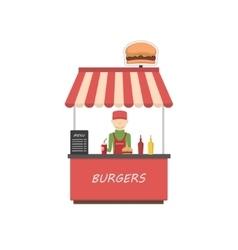 Street shop burgers Fast food kiosk vector