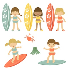 Surfing girls vector image