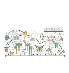 thin line art medieval knights poster vector image