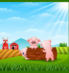 Three little pigs playing logs at hills vector