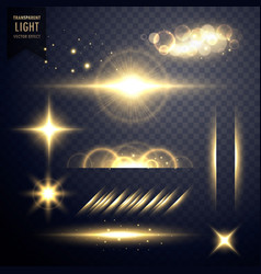 transparent golden set of lens flares light effect vector image