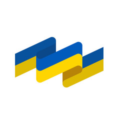 Ukraine flag ribbon isolated ukrainian banner vector