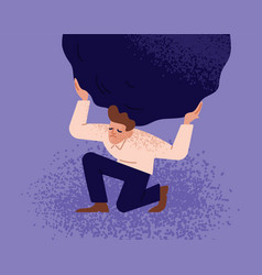 Unhappy man carrying giant heavy boulder or stone vector