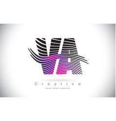 va v a zebra texture letter logo design vector image