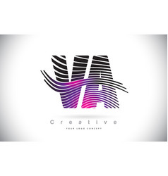 va v a zebra texture letter logo design with vector image