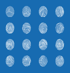 various unique fingerprints white thin line icon vector image