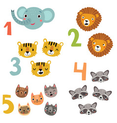 we study numbers with animals score vector image
