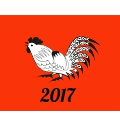 White rooster on red background vector