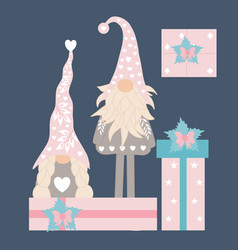 with valentine gnomes and gifts vector image