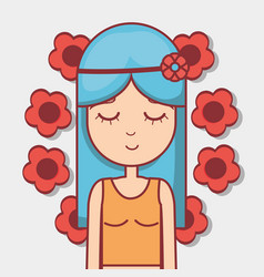 Woman hippie relaxing with flowers vector