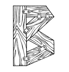 wooden letter b engraving vector image