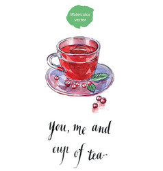 You me and cup of tea vector