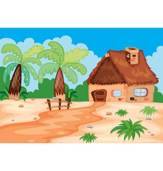 a hut in nature vector image vector image