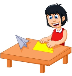 funny little girl cartoon playing folding paper vector image