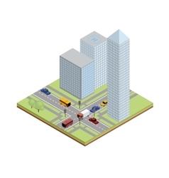 Isometric crossroad in city vector image