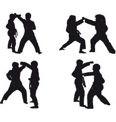 kid karate kumite vector image