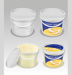 plastic buckets for food product realistic vector image