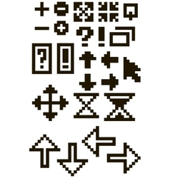 Set of different black pixel font symbols vector image vector image