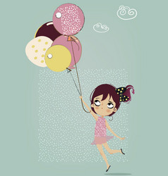 cute flying girl with umbrella vector image vector image