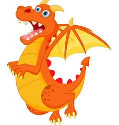 happy red dragon cartoon vector image