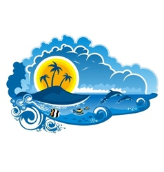 Tropical island paradise vector image
