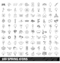 100 spring icons set outline style vector image