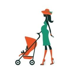 Fashion mom with baby in pram under umbrella vector image