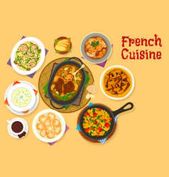 french cuisine famous dinner dishes icon design vector image