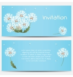 Invitation card with dandelions on blue background vector image
