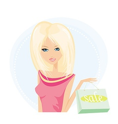 Pretty girl with shopping bag vector image