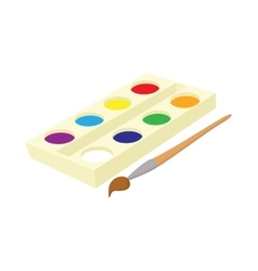 Watercolor in a box with brush icon cartoon style vector image