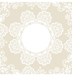 White lace on beige background vector