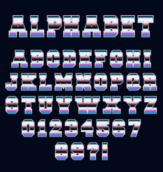 alphabet font template 80s retro style vector image vector image